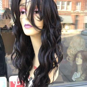 Accessories - Long dark brown 6X6 freepart Lacefront Wig 2019